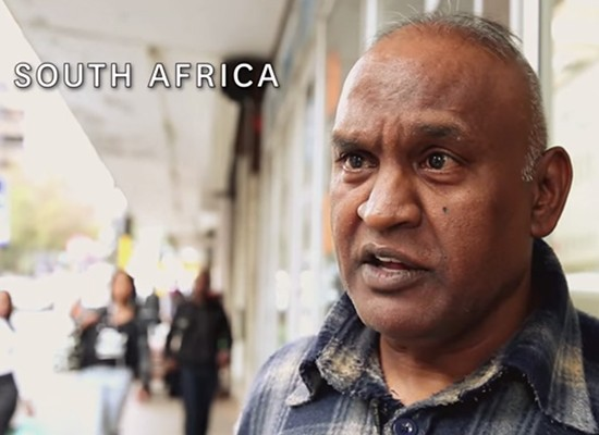 """Image of a man in South Africa speaking to the camera, from the film """"Being a Father"""""""