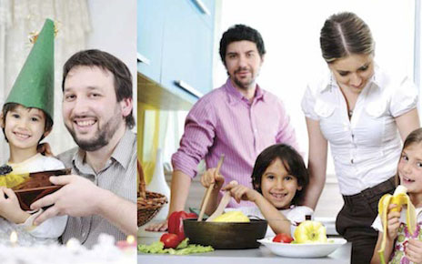 Two fathers play and cook with their children and partners.