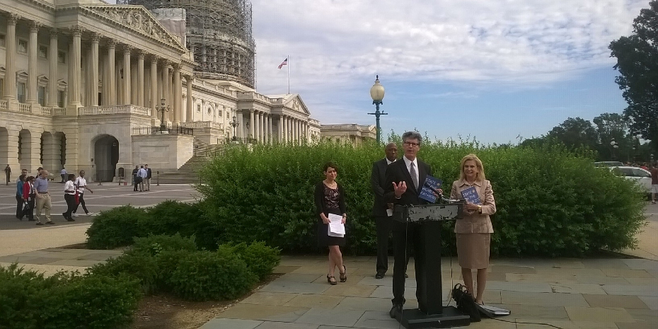 State of the World's Fathers co-author Michael Kaufman speaks to the press outside of the U.S. Capitol. Credit: Promundo-US