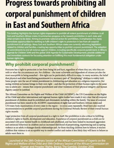 Progress towards prohibiting all corporal punishment of children in East and Southern Africa